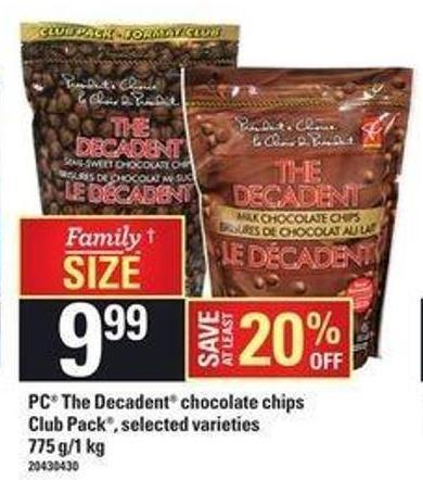 PC The Decadent Chocolate Chips Club Pack - 775 G/1 Kg