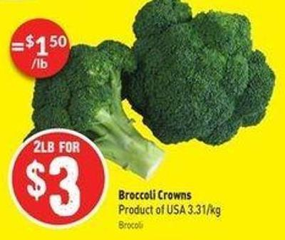 Broccoli Crowns Product of USA 3.31/kg