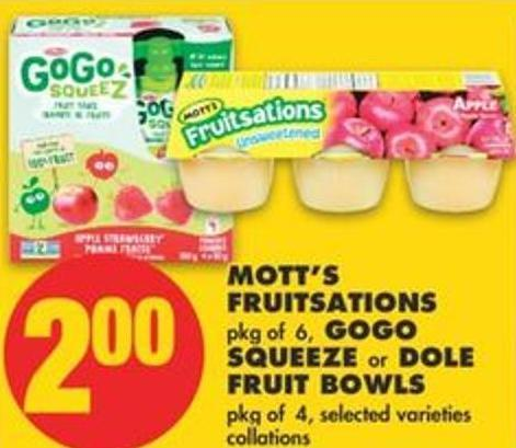 Mott's Fruitsations - Pkg of 6 - Gogo Squeeze or Dole Fruit Bowls - Pkg of 4