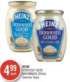 Heinz Seriously Good Mayonnaise 800ml