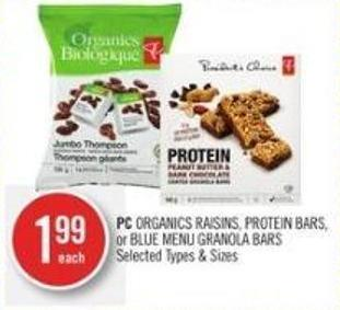 PC Organics Raisins - Protein Bars - or Blue Menu Granola Bars