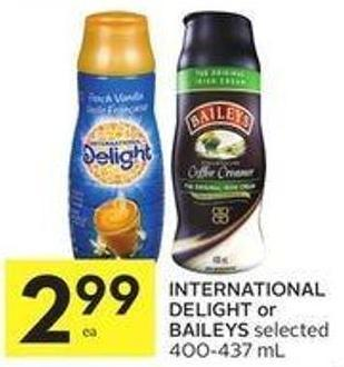International Delight or Baileys Selected 400-437 mL