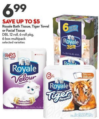 Royale Bath Tissue - Tiger Towel  or Facial Tissue Dbl 12 Roll - 6 Roll Pkg -  6 Box Multipack