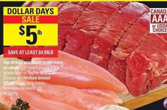Top Sirloin Premium Oven Roast Or Steak Chicken Breast Fillets