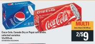 Coca-cola - Canada Dry Or Pepsi Soft Drinks - 12x355 mL