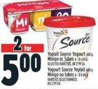 Yoplait Source Yogourt 650 G - Minigo Or Tubes 6 - 8 X 60 G