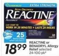 Reactine or Benadryl Allergy Relief - 25 Air Miles Bonus Miles