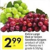 Extra Large Red or Green Seedless Grapes Product of USA or Mexico No 1 Grade 6.59/kg