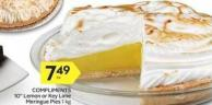 Compliments 10in Lemon or Key Lime Meringue Pies