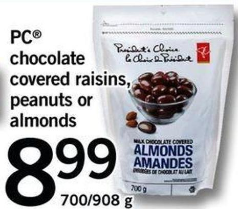PC Chocolate Covered Raisins - Peanuts Or Almonds - 700/908 G