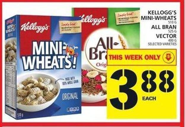 Kellogg's Mini-wheats Or All Bran Or Vector
