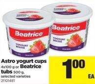 Astro Yogurt Cups - 4x100 G Or Beatrice Tubs - 500 G