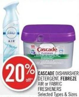 Cascade Dishwasher Detergent - Febreze Air or Fabric Fresheners
