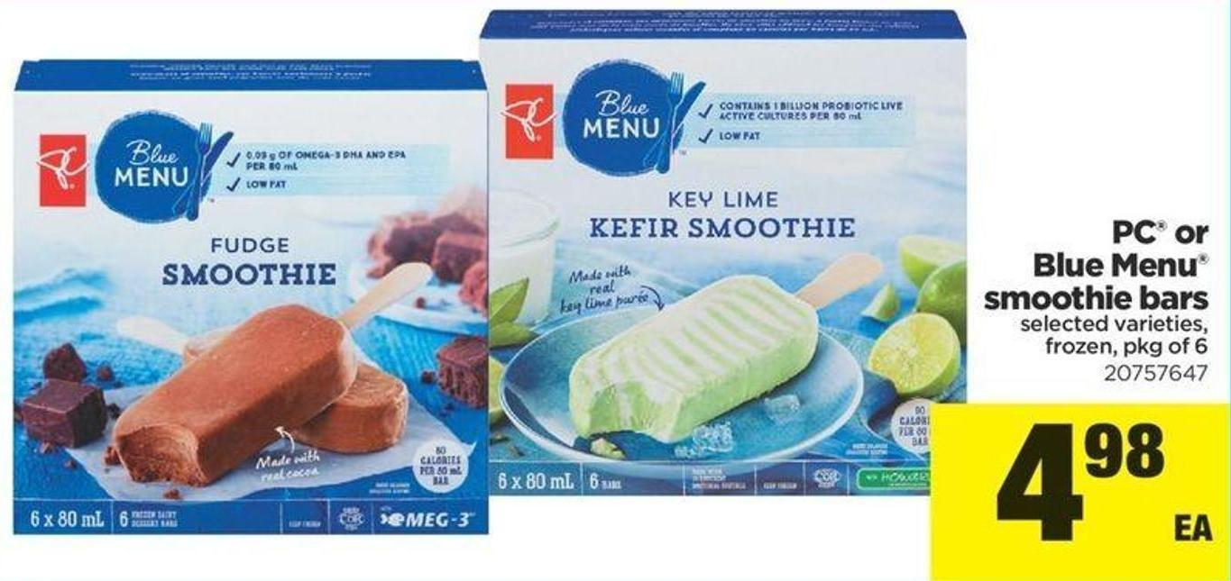 PC Or Blue Menu Smoothie Bars - Pkg of 6