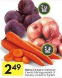 Beets 2 Lb Bag or Onions or Carrots 5 Lb Bag Product of Canada - Canada No 1 Grade
