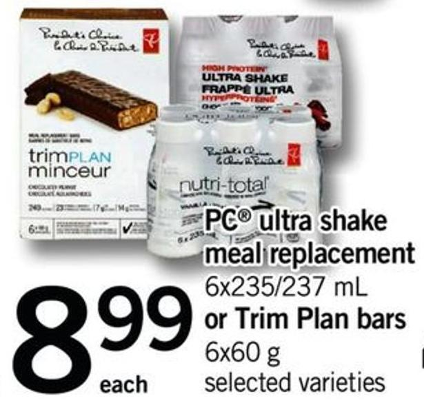 PC Ultra Shake Meal Replacement - 6x235/237 Ml Or Trim Plan Bars - 6x60 G