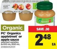 PC Organics Appletreet Or Apple Sauce - 6x100 Ml/650 mL