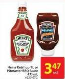 Heinz Ketchup 1 L or Pitmaster Bbq Sauce 475 mL