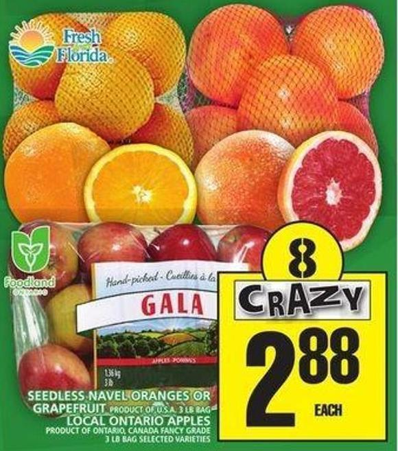 Seedless Navel Oranges Or Grapefruit Or Local Ontario Apples