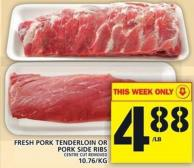 Fresh Pork Tenderloin Or Pork Side Ribs