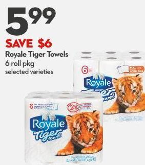 Royale Tiger Towels 6 Roll Pkg