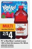 PC Or Blue Menu Cocktail Or Juice - 1.89 L Or Kool-aid Jammers - 10 X 180 Ml