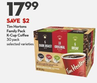 Tim Hortons Family Pack  K-cup Coffee 30 Pack