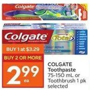 Colgate Toothpaste 75-150 mL or Toothbrush 1 Pk Selected