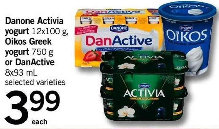 Danone Activia Yogurt - 12x100 G - Oikos Greek Yogurt - 750 G Or Danactive - 8x93 Ml