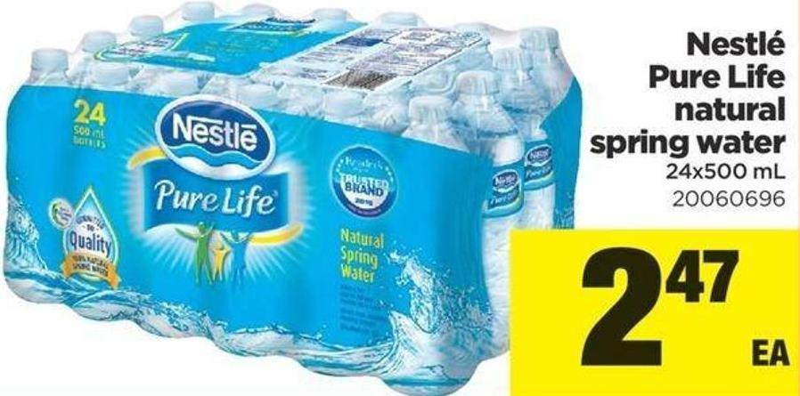 Nestlé Pure Life Natural Spring Water - 24x500 mL