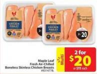 Maple Leaf Fresh Air-chilled Boneless Skinless Chicken Breasts