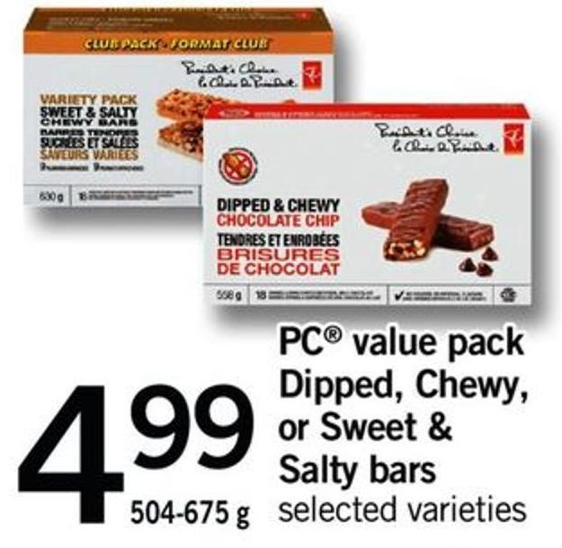 PC Value Pack Dipped - Chewy - Or Sweet & Salty Bars - 504-675 G