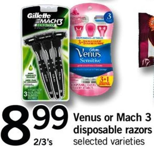 Venus Or Mach 3 Disposable Razors - 2/3's