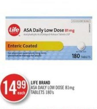 Life Brand Asa Daily Low Dose 81 Mg Tablets 180's