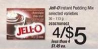 Jell-o Instant Pudding Mix - 30 – 113 g