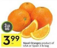 Navel Oranges Product of USA or Spain 3 Lb Bag