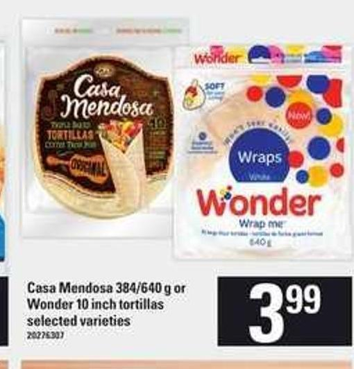 Casa Mendosa 384/640 G Or Wonder 10 Inch Tortillas