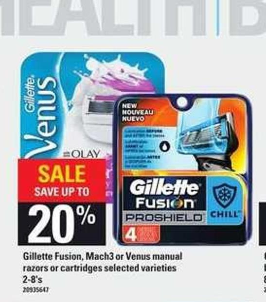 Gillette Fusion - Mach3 Or Venus Manual Razors Or Cartridges - 2-8's