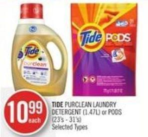 Tide Purclean Laundry Detergent (1.47l) or PODS (23's - 31's)