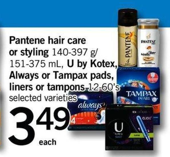 Pantene Hair Care Or Styling 140-397 G/ 151-375 Ml - U By Kotex - Always Or Tampax Pads - Liners Or Tampons 12-60's