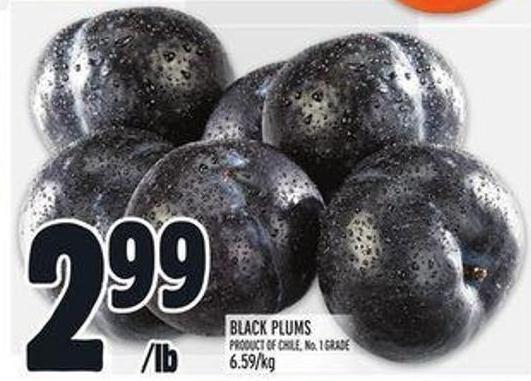 Black Plums Product Of Chile No. 1 Grade