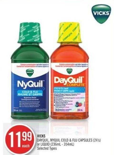 Vicks Dayquil - Nyquil Cold & Flu Capsules (24's) or Liquid (236ml - 354ml)