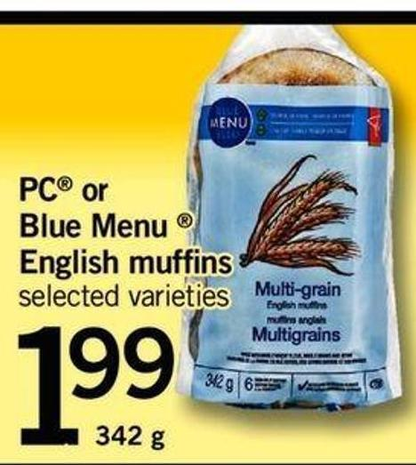PC Or Blue Menu English Muffins - 342 g