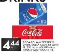 Coca-cola or Pepsi Soft Drinks - Bubly Sparkling Water 12x355 mL or Aquafina or Dasani Water