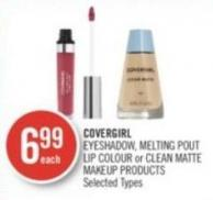 Covergirl Eyeshadow - Melting Pout Lip Colour or Clean Matte Makeup Products