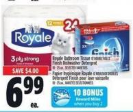 Royale Bathroom Tissue 12 Double Rolls Finish Dishwasher Detergent