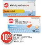 Life Brand Asa Daily Low Dose 81 Mg Tablets 120's