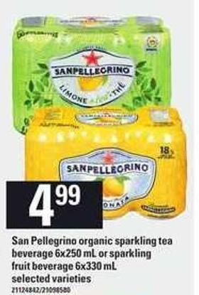 San Pellegrino Organic Sparkling Tea Beverage - 6x250 Ml Or Sparkling Fruit Beverage - 6x330 Ml