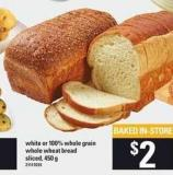 White Or 100% Whole Grain Whole Wheat Bread - 450 g