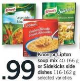 Knorr Or Lipton Soup Mix 40-166 G Or Sidekicks Side Dishes 116-162 G